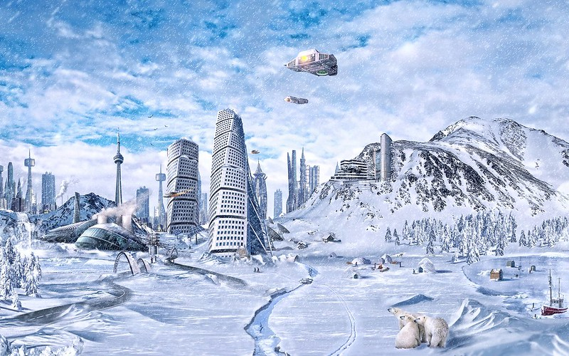 Обои планета, мир, зима, снег, город, фантастика, будущее картинки на рабочий стол, фото скачать бесплатно