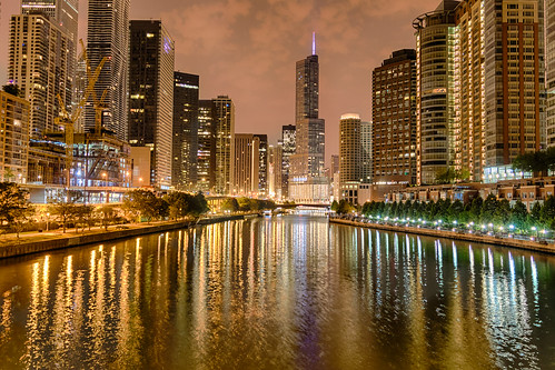 chicago chicagoriver chicagoriverwalk hdr illinois nikon nikond5300 outdoor trumptower city cityscape clouds downtown geotagged lights night outside reflection reflections river sky skyscrapers water