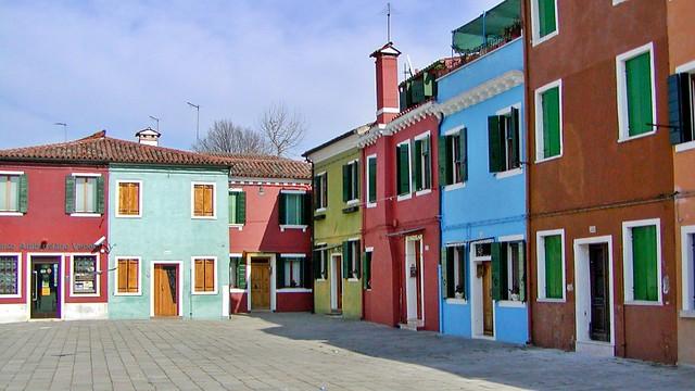 Farbige Häuserfassaden