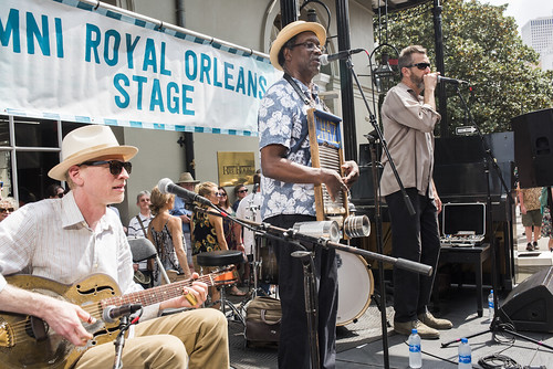 Washboard Chaz Trio play French Quarter Fest day 3 on April 13, 2019. Photo by Ryan Hodgson-Rigsbee RHRphoto.com