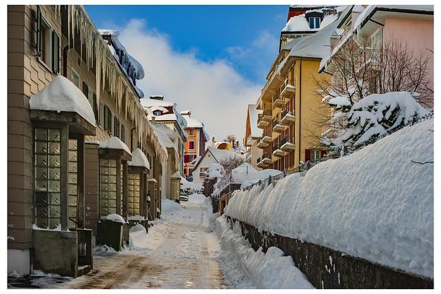 Winter and the city , La Chaux-de_fonds, Canton of Neuchâtel. Switzerland. No. 1547.