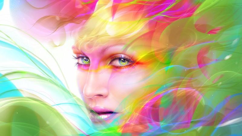 Обои digital art, лицо, девушка, разноцветный картинки на рабочий стол, фото скачать бесплатно