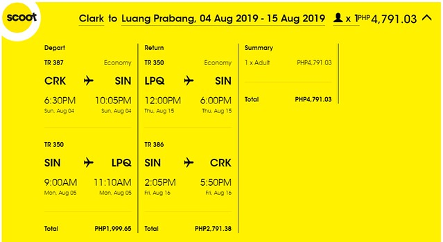 Scoot Airlines Clark to Luang Prabang Roundtrip Promo