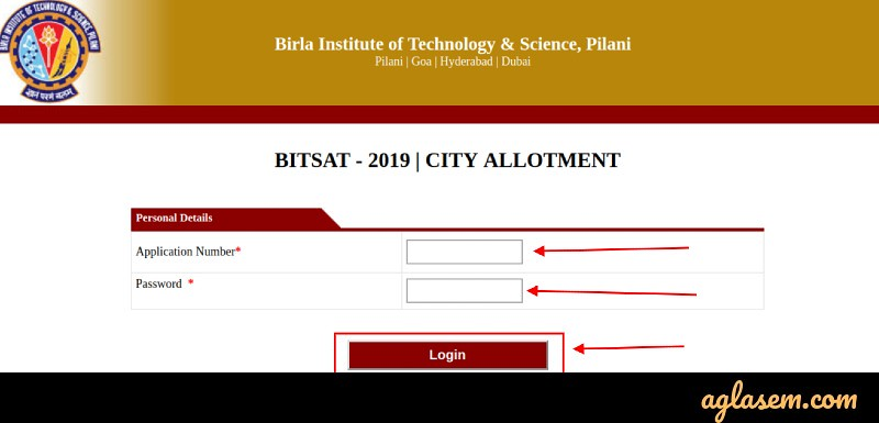 BITSAT 2020 Test Center Allotment