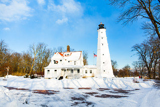 Brick Path to Snowy North Point Light | by VBuckley.com