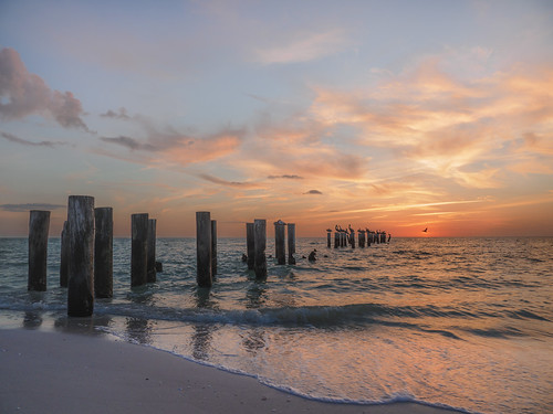 gulfofmexico beach landscape sunset peaceful water pelicans naples pilings clouds sand waves lines getolympus omdem1x em1mkiiomdem1markii 12100mm 12100mmf4 12100mmf4pro omd oly olympus breathtakinglandscapes