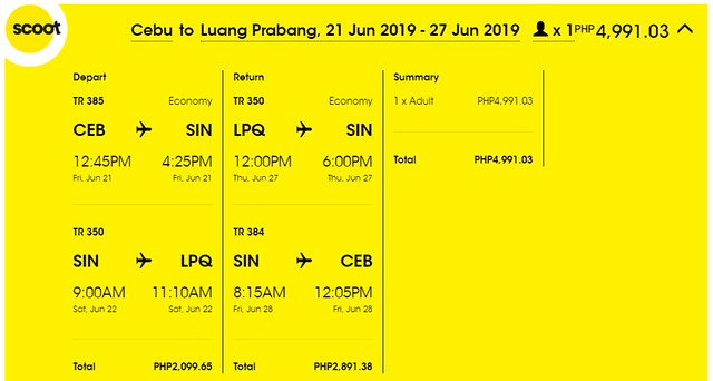 Scoot Airlines Cebu to Luang Prabang Roundtrip Promo