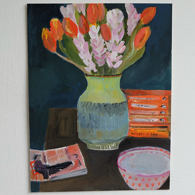 spring flowers and sketchbook