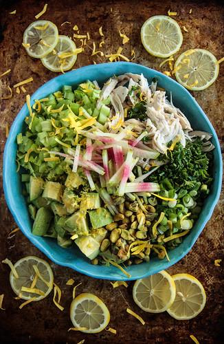 Chicken Avocado Pistachio Salad Keto from HeatherChristo.com | by Heather Christo