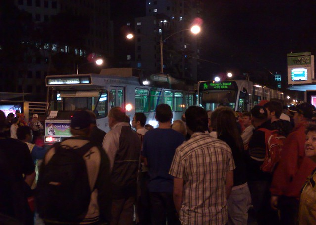 Melbourne trams after the Grand Prix, March 2009