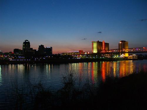 from street bridge red night river louisiana downtown neon texas view casino boardwalk shreveport