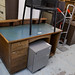 Green top dark wood desk E65