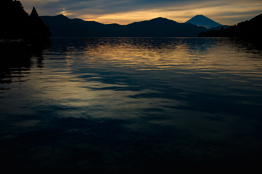 Waiting for night - Mt Fuji across Lake Ashi, from Moto Hakone - Japan