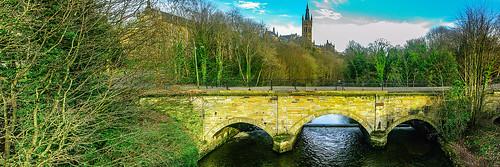 scotland pentax pentaxk20d pentaxdal glasgow riverkelvin heritage trail glasgowuniversity universityofglasgow arch arches span stitch panoramic pano panorama sky clouds city