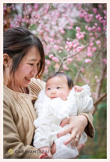 赤ちゃんと桜の花 ベビードレス