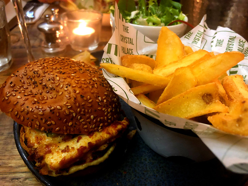 Halloumi burger and fries