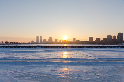 Sunset Over Skyline with Frozen Harbor | by VBuckley.com