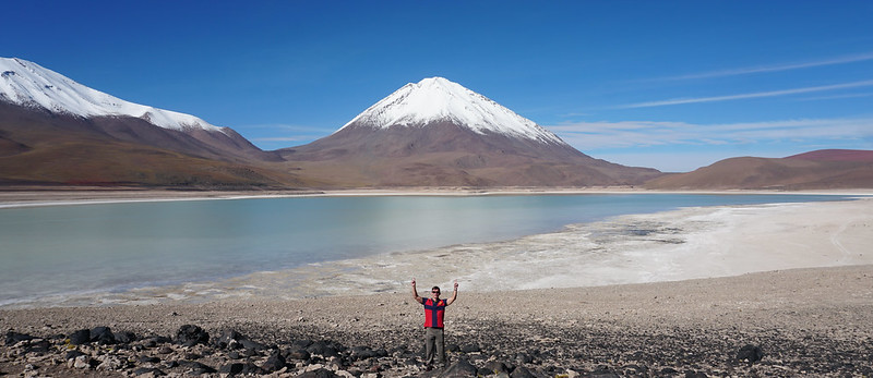 The Green Lagoon (Laguna Verde) at 4,300m. (14,100 ft.), Bolivian Highlands (Altiplano Boliviano), Sur Lípez, Potosí, Bolivia.
