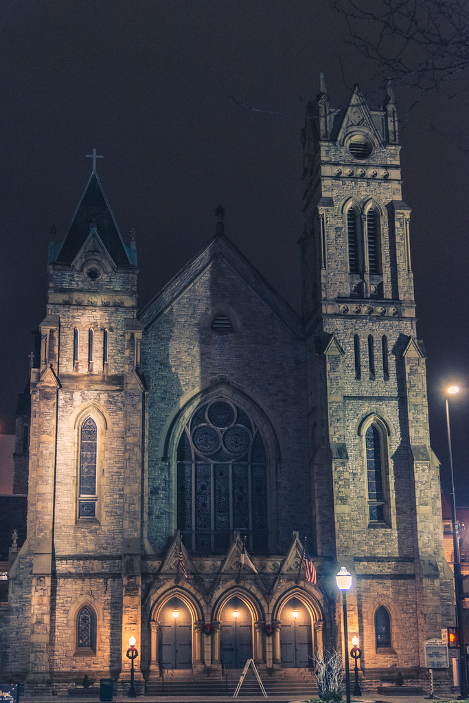 Covenant First Presbyterian Church at night