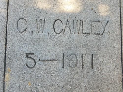 Sidewalk Marker - C. W. Cawley - May 1911
