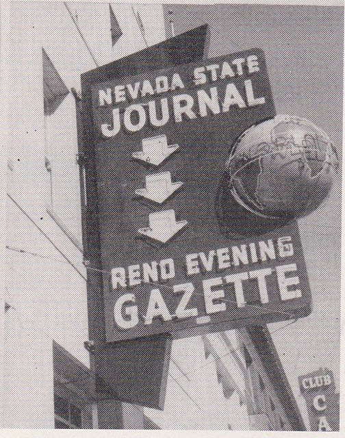 Nevada State Journal - Reno Evening Gazette - Sign by Electrical Products Corp. - circa 1957