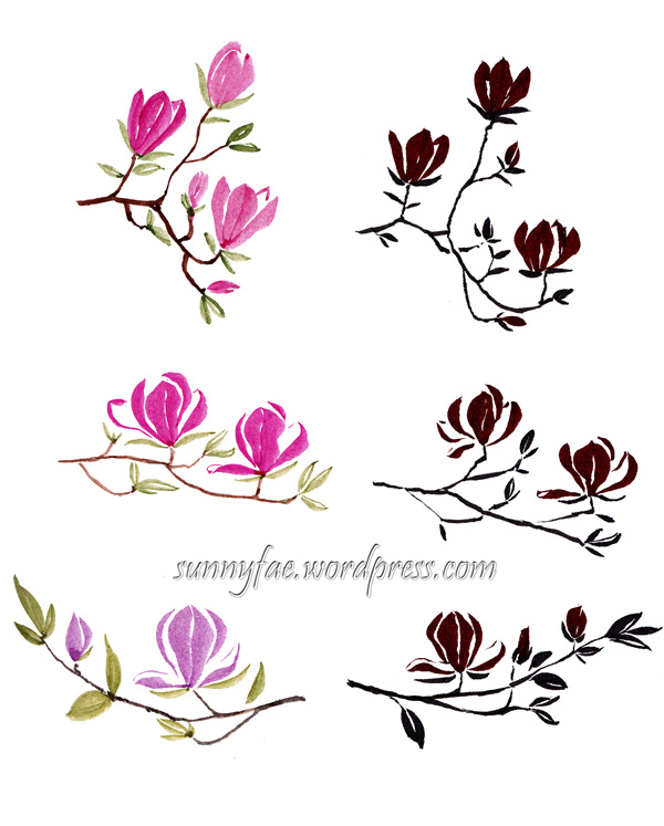 magnolia brush painting experiments