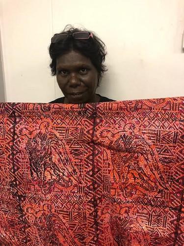 Featured Artist Donna Burak of Pirlangimpi Women's Centre. Image courtesy of Pirlangimpi Women's Centre.