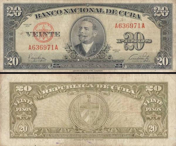 20 Pesos Kuba 1949 P080a-3