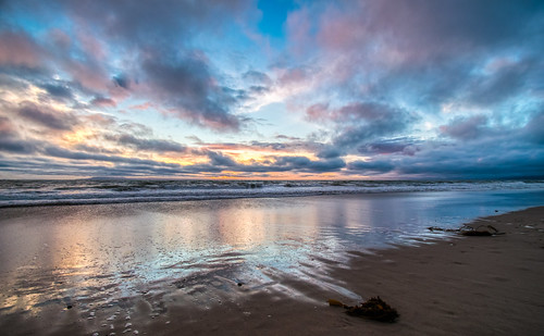 california hdr nikon nikond5300 outdoor oxnard oxnardshores pacificocean beach clouds evening geotagged ocean outside reflection reflections sand seaweed sky sunset water