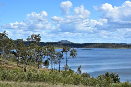 landscape nikond7200 tamronsp2470mmf28divcusd bluesky clouds greenleaves gumtrees greengrass mountains water dam paradisedam burnettriver bundaberg queensland australia saturdaylandscape
