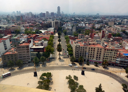 Looking down at the view from the Monumento a la Revolución in Mexico City