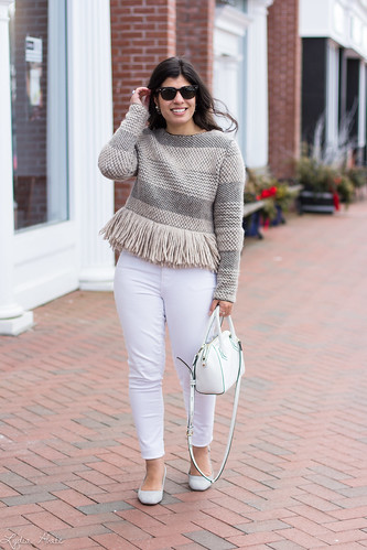 rachel comey fringe sweater, white jeans, grey slingbacks, white bag-9.jpg | by LyddieGal