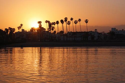 santa barbara ca california sunset stearns wharf pacific ocean palm trees beach june 2018 travel