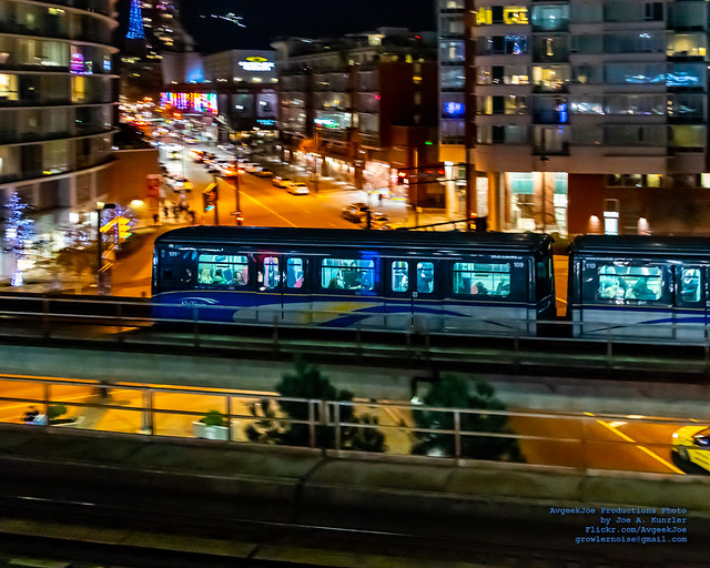 Panning An Expo Mk I on the SkyTrain Rails in the Vancouver Night