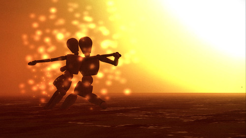 Study of two mannequins dancing a tango in the sea whilst being beamed up (as their sun goes nova) | by HuckHax