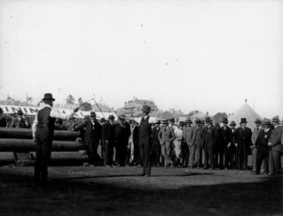 Edward, Prince of Wales watching a whip-cracking demonstration at the Brisbane show, July 1920