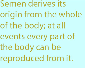 7-1  semen derives its origin from the whole of the body; at all events every part of the body can be reproduced from it.