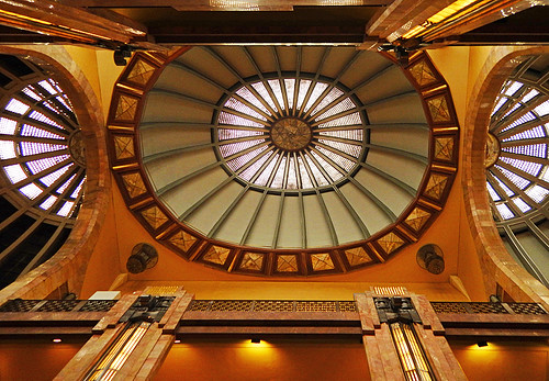 Domed Art Deco ceiling in the Palacio de Bellas Artes, Mexico City