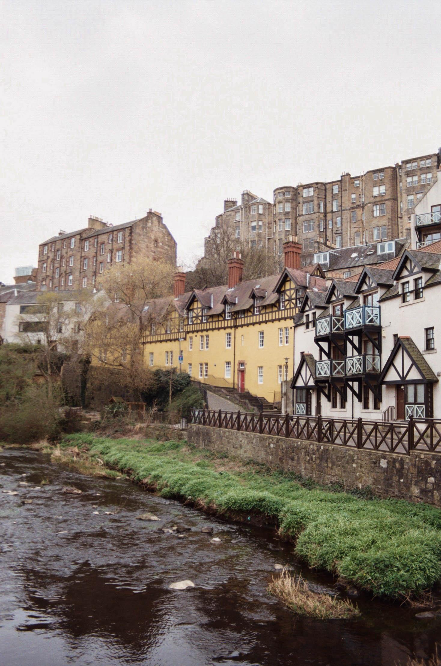 Dean Village in Edinburgh on a cloudy day.