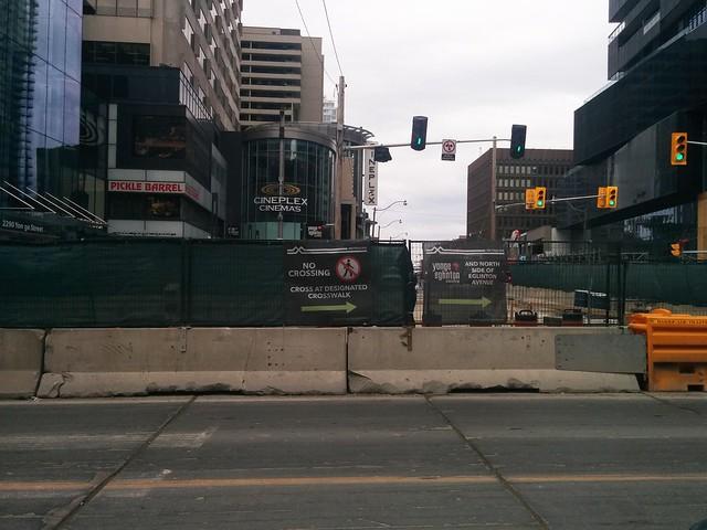 """""""No Crossing"""" #toronto #yongeandeglinton #eglintonavenue #eglintoncrosstown #yongestreet #construction #nocrossing"""