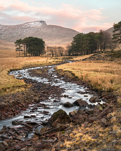 dry neuadd upper reservoir lake bed river taf meandering trickling landscpae wales southwales breconbeacons cymru penyfan mountains valley gb uk countryside trees sunrise water