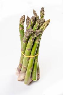 Fresh Asparagus above white background   by wuestenigel