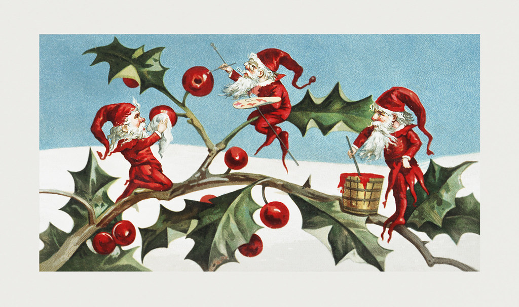 Christmas Illustrations.Vintage Santa Elves Christmas Illustration Santa Elves Pai