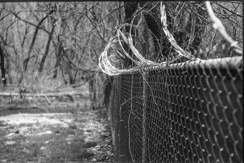 barbed wire, coils, fence, Hominy Creek River Park, Asheville, NC, FED 4 , Arista.Edu 200, HC-110 developer, 3.26.19