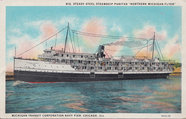SHIP SS PURITAN Steamer Excursion and Package Freight Boat Michigan Transit Company WRECKED 1933 Struck Rock of Ages Reef at Isle Royale in Lake Superior Built 1901 Craig Shipbuilding Toledo OH