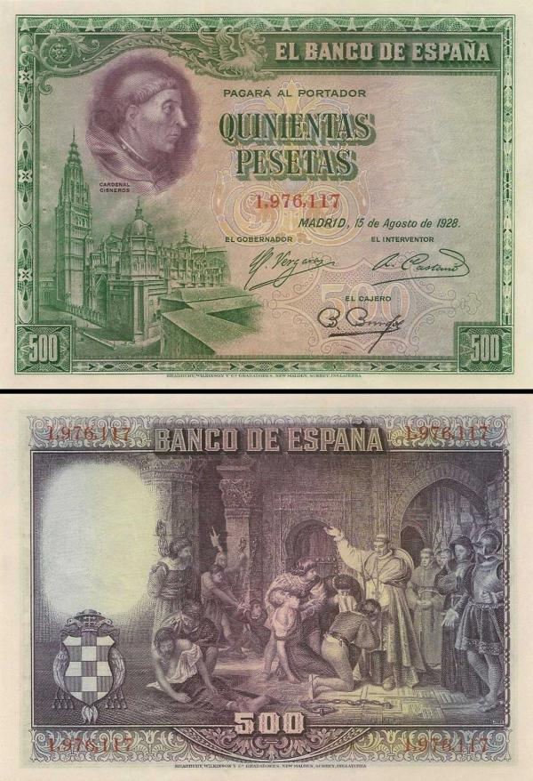500 Pesetas Španielsko 1928, P77a