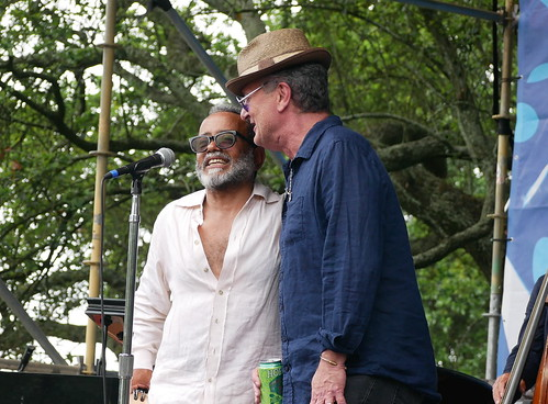 John Boutte and Paul Sanchez on Day 2 of French Quarter Fest - 4.12.19. Photo by Louis Crispino.