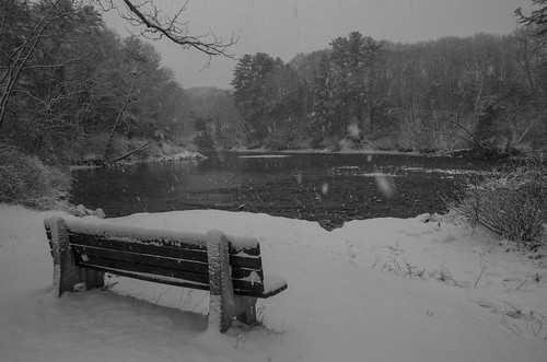 kennebunk maine mousamriver rogerspark bench snow winter bw monochrome