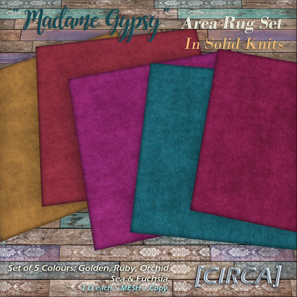 "@ The Boardwalk | [CIRCA] – ""Madame Gypsy"" – Area Rug Set – Solid Knits"