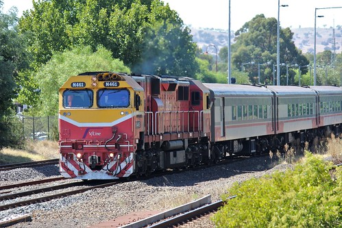 Up Shepparton service departing Seymour Station